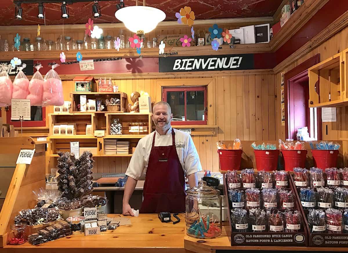 Man at a candy shop in Wakefield.