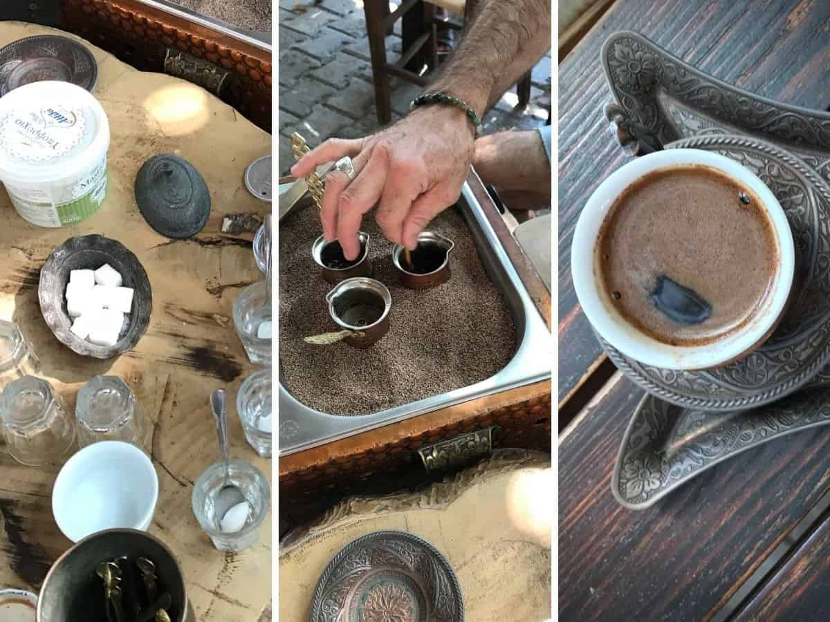 Collage showing how to make sand coffee in Turkey.