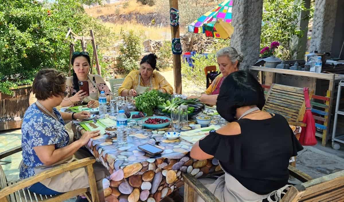 A group of women at a cooking class in Bodrum, Turkey.