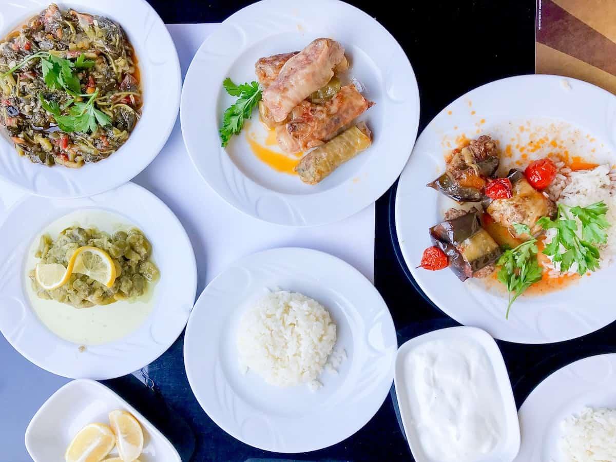 A selection of Turkish dishes at Ana Oğul Lokantasi restaurant.