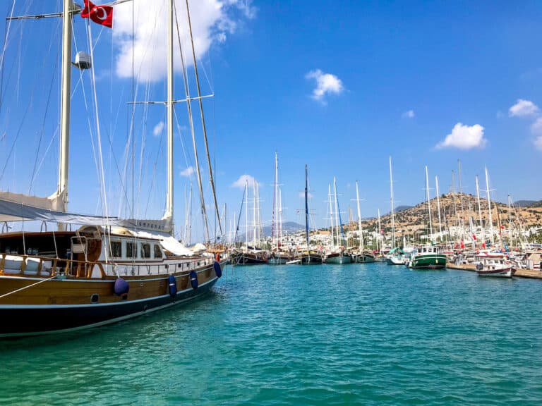 Boats in the harbour in Bodrum.