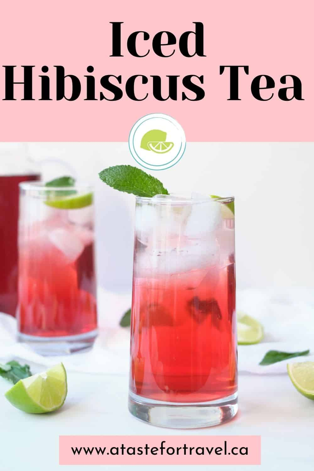 Two glasses of cold brew hibiscus tea on ice with Pinterest text overlay.
