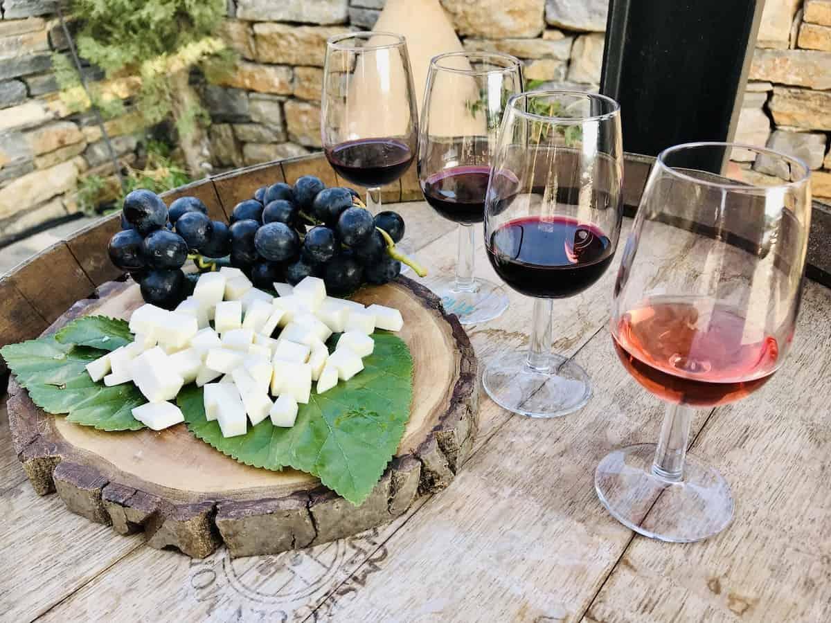 Glasses of wine at Karnas Winery near Bodrum.