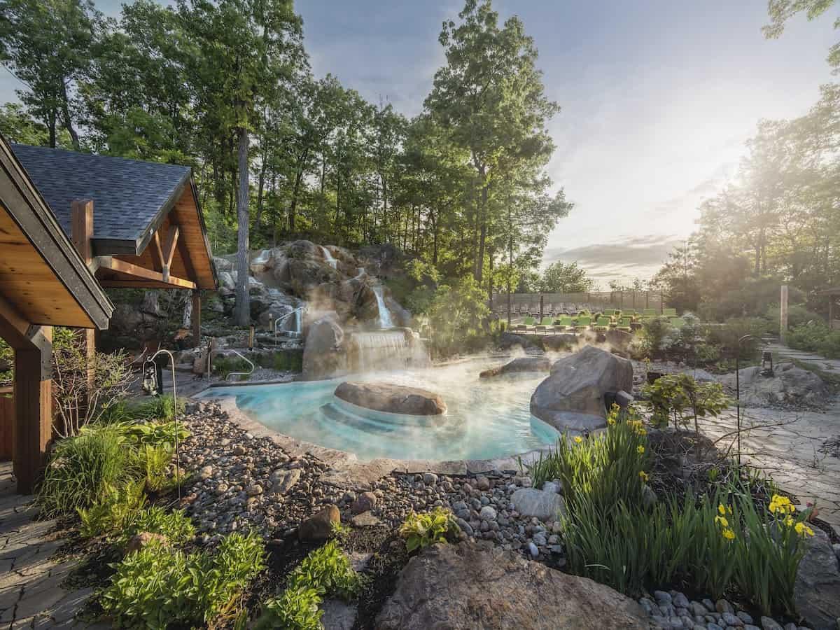 Summer view of pools at Nordik Spa-Nature.