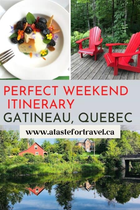 Collage of food, lounge chair and river in Gatineau Quebec for Pinterest.