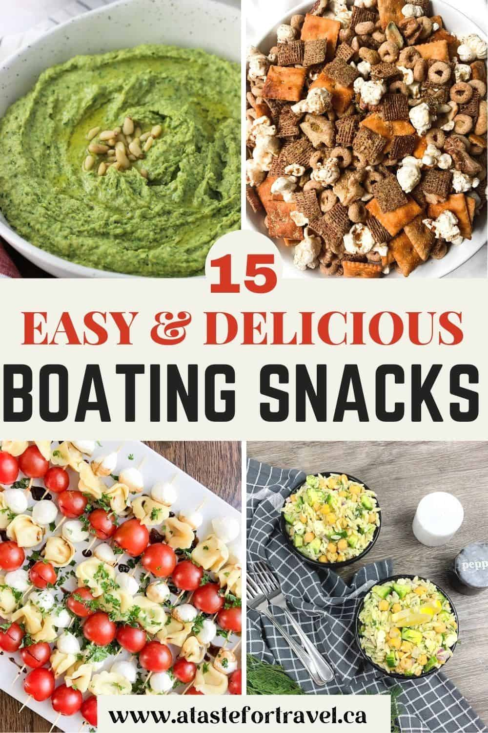 Collage of boat snacks with Pinterest text overlay.