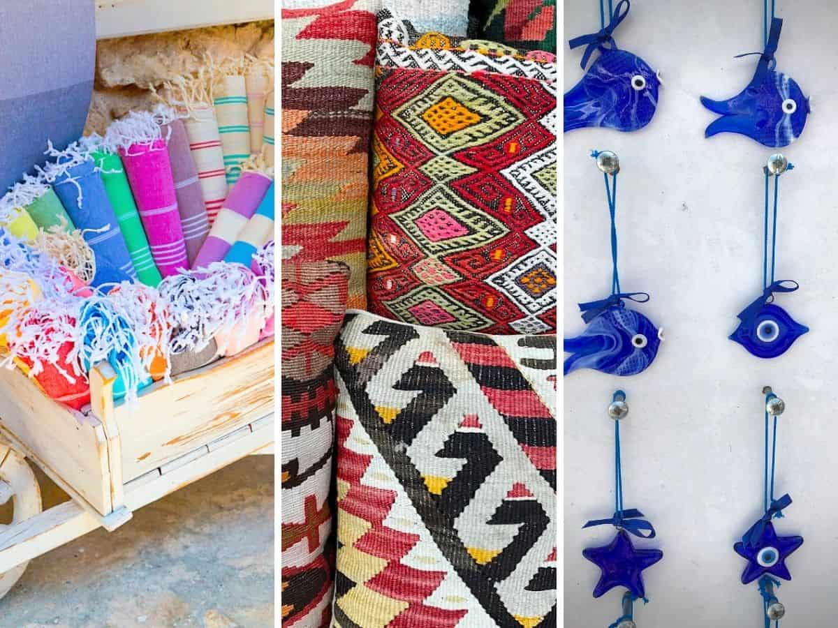Collage of woven pillow, Turkish towels and blown glass souvenirs in Turkey.