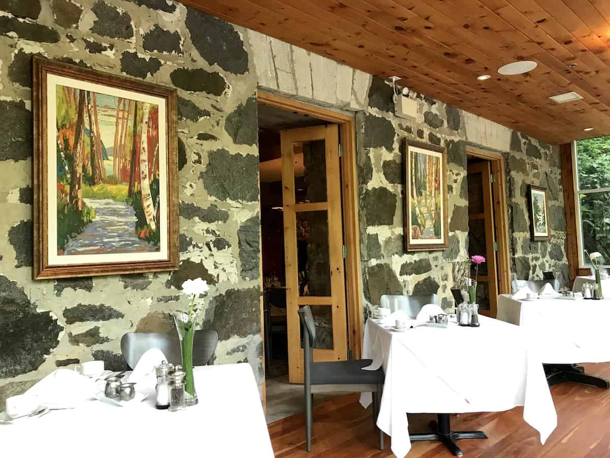 A stone wall at the Wakefield Mill restaurant.
