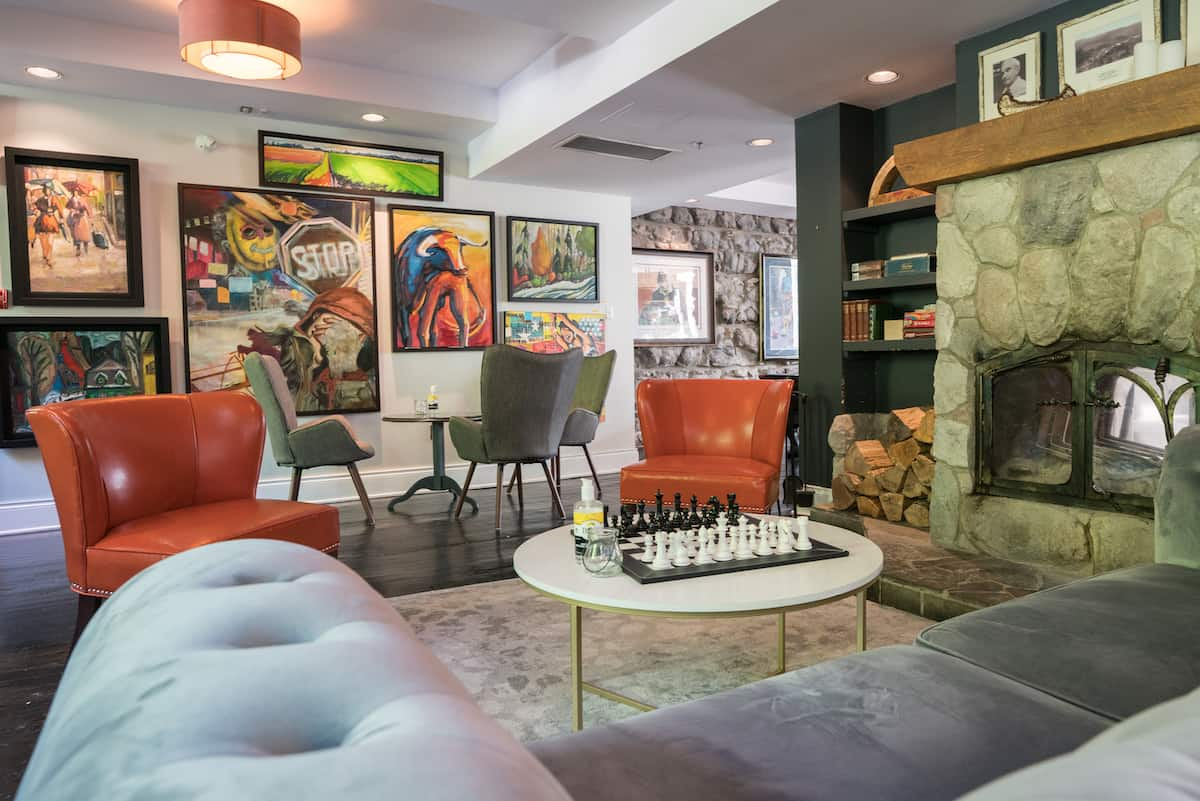 Lounge with artwork at Wakefield Mill and Spa.