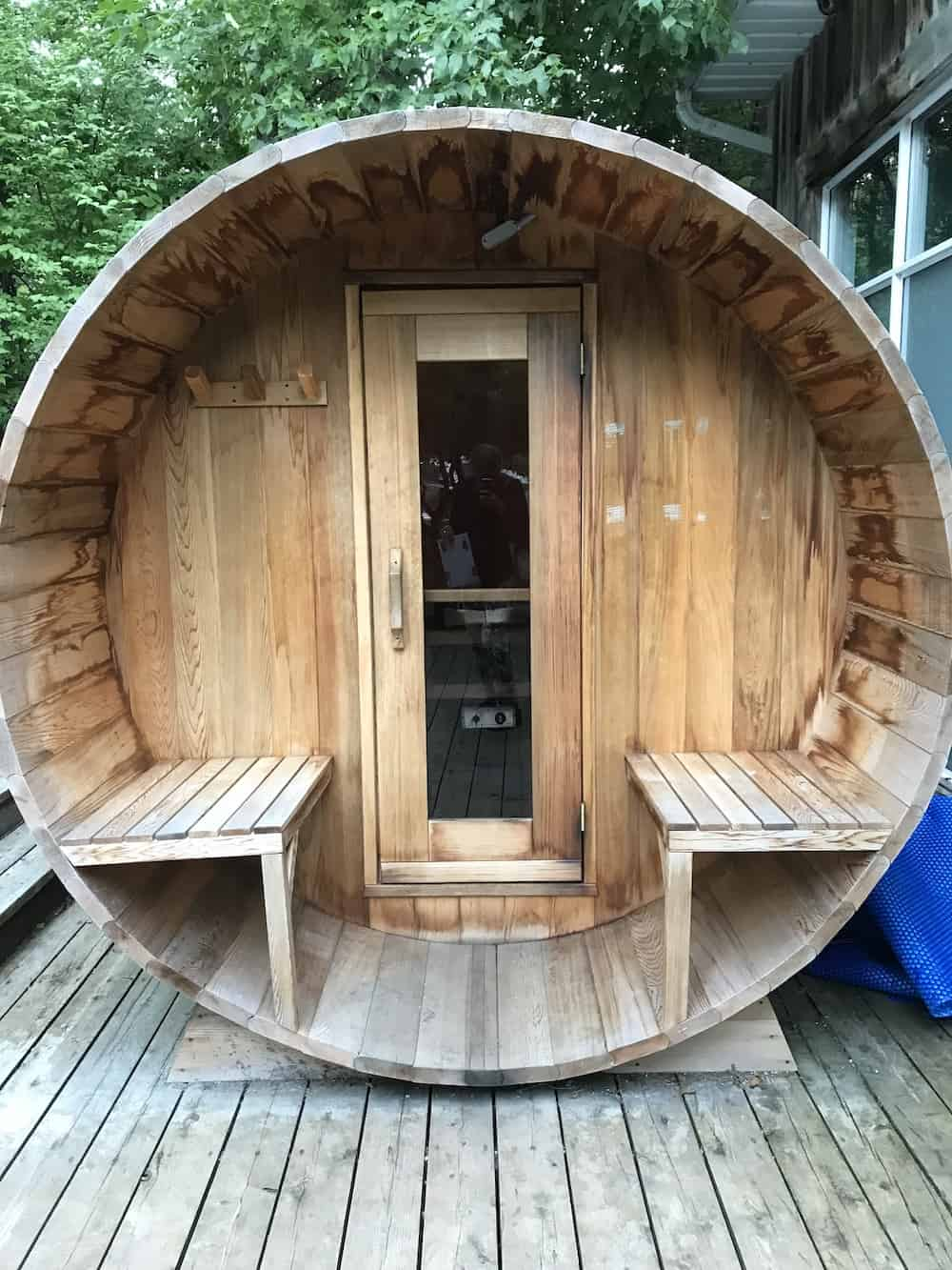 Outdoor sauna at Wakefield Mill.