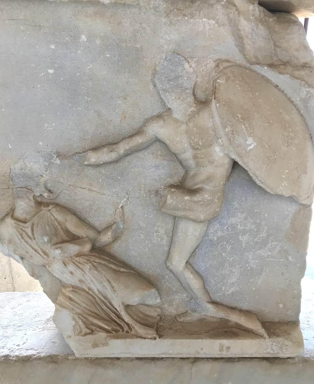 Closeup of relief at Mausoleum of Halicarnassus.