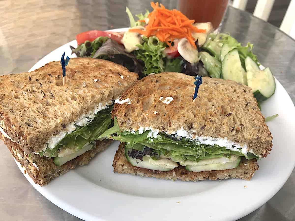 Chicken goat cheese and rhubarb chutney sandwich at Nutty Bean Cafe.
