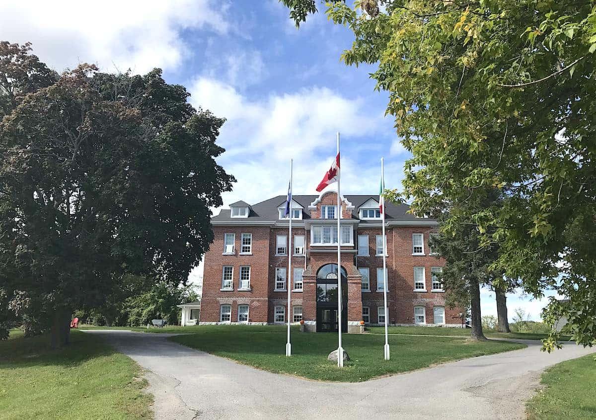 Exterior of Red Brick Lofts in Lakefield Ontario.