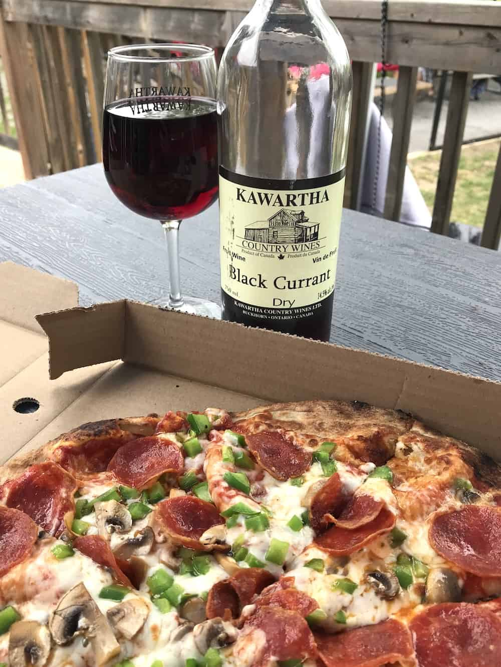 Pizza and fruit wine at Kawarthas Country Winery.