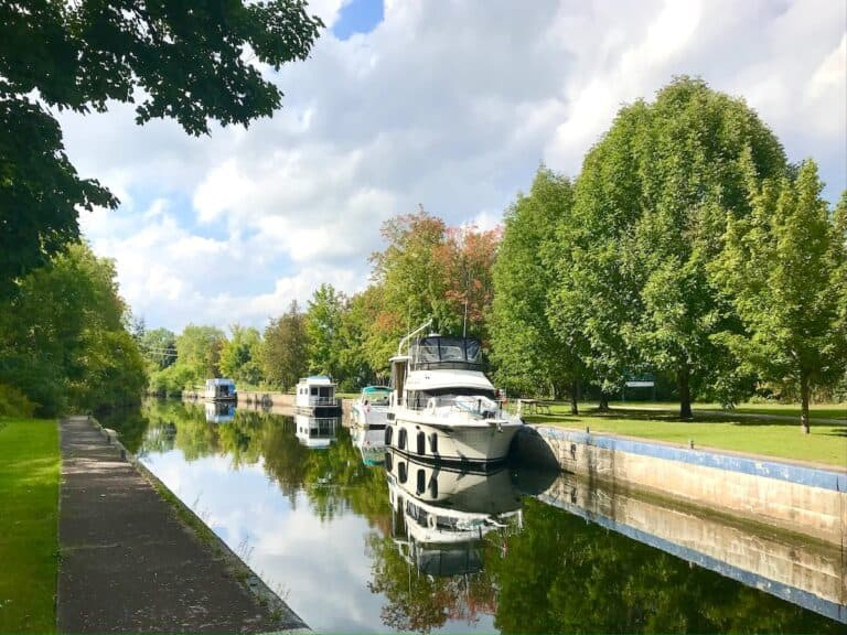 Boats in the lock at Lakefield Ontario.