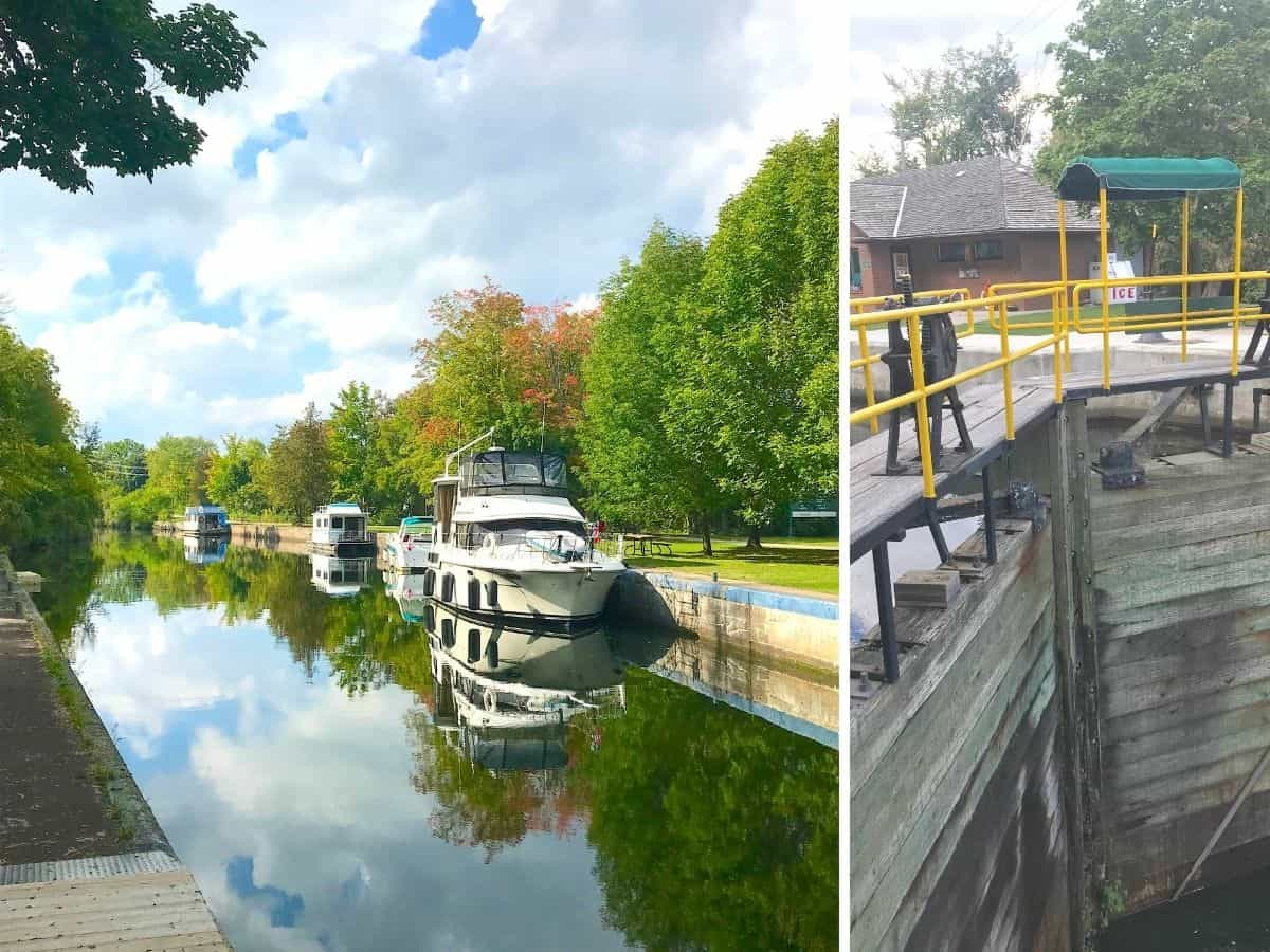 Collage of boats at Lock 26 in Lakefield Ontario.