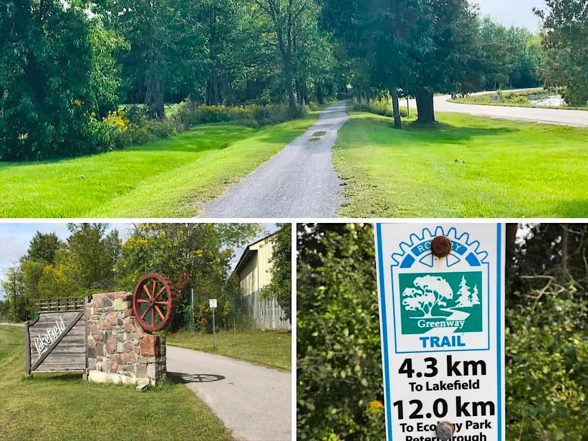 Collage of the Rotary Greenway Trail in Lakefield, Ontario.