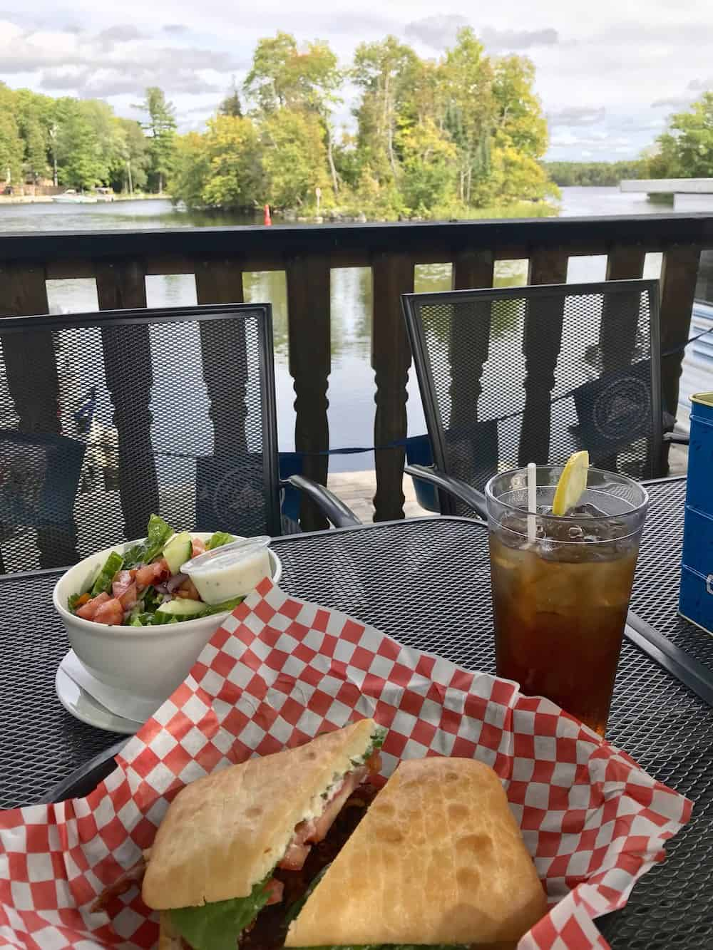 View at Lock 27 patio restaurant in Young's Point Ontario..