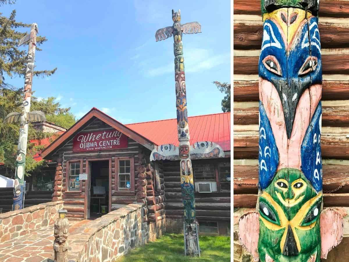 Collage of a totem and Whetung Ojibwa Centre.