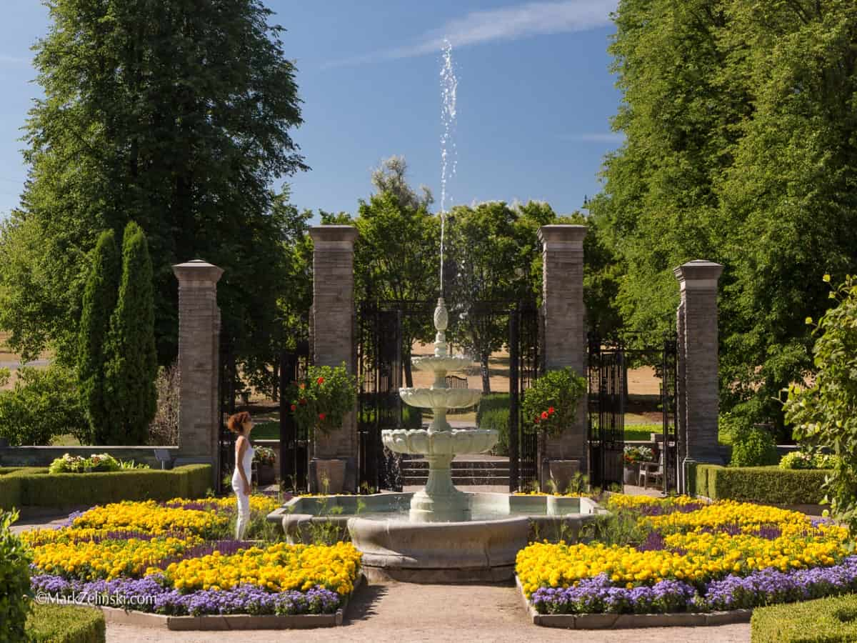 A view of the fountain in the Scented Garden Centre in Burlington.