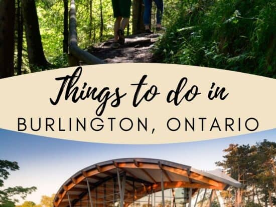 """A pin with two photos of Burlington and """"Things to do in Burlington, Ontario""""."""