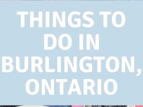 """A pin with four photos of Burlington and """"Things to do in Burlington, Ontario""""."""