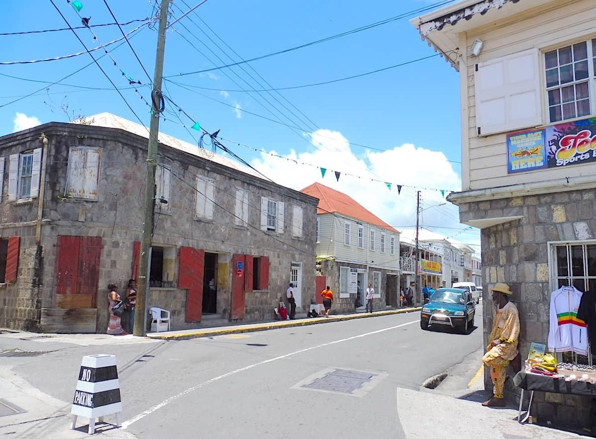 Street scene in Charlestown, Nevis.